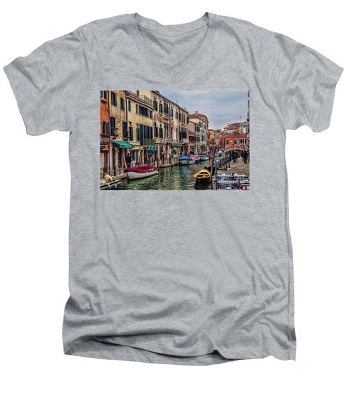 Men's V-Neck T-Shirt featuring the photograph Venice Street Scenes by Shirley Mangini