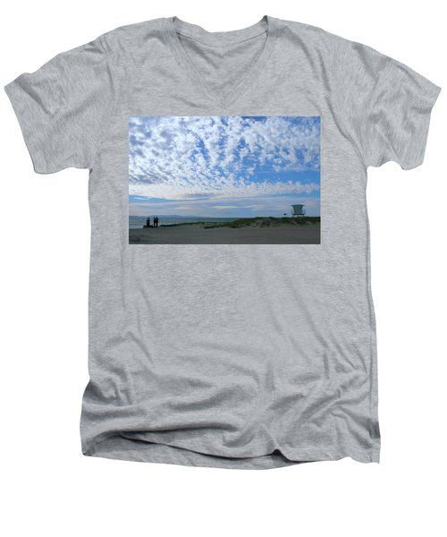 Ventura Beach With Blue Sky And  Puffy Clouds Men's V-Neck T-Shirt
