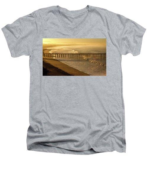 Ventura, Ca Pier At Sunrise Men's V-Neck T-Shirt
