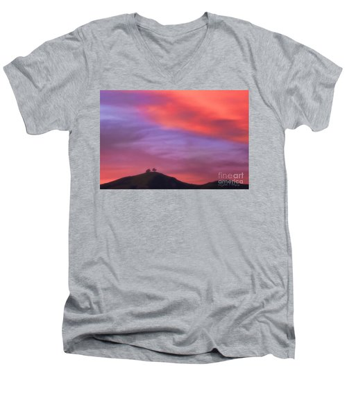 Men's V-Neck T-Shirt featuring the photograph Ventura Ca Two Trees At Sunset by John A Rodriguez