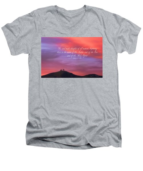 Men's V-Neck T-Shirt featuring the photograph Ventura Ca Two Trees At Sunset With Bible Verse by John A Rodriguez