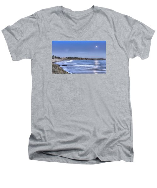 Ventura Pier Moonrise Men's V-Neck T-Shirt by Joe  Palermo