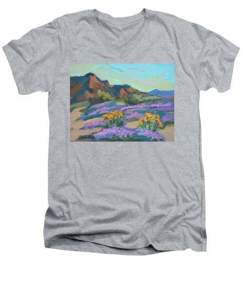 Men's V-Neck T-Shirt featuring the painting Verbena And Spring by Diane McClary