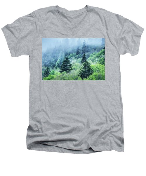 Verdant Forest In The Great Smoky Mountains Men's V-Neck T-Shirt