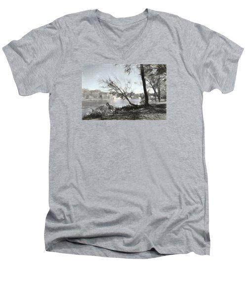 Vergennes Falls Digital Charcoal Men's V-Neck T-Shirt by Rena Trepanier
