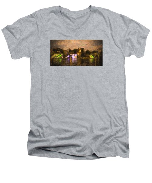 Vergennes Falls Lit Up Men's V-Neck T-Shirt