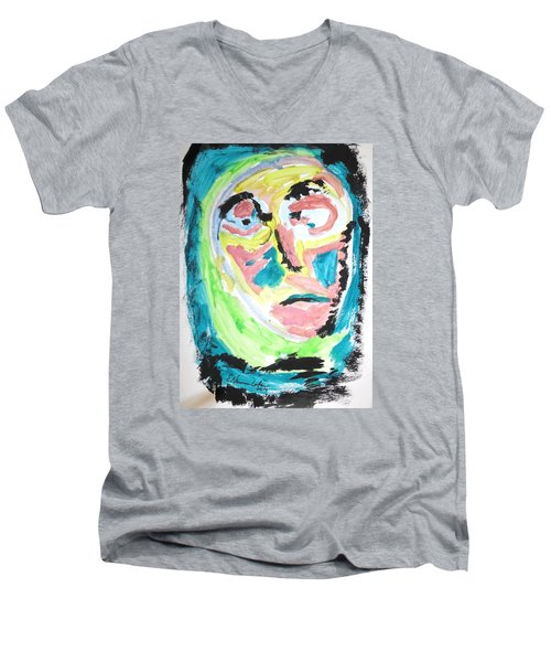Men's V-Neck T-Shirt featuring the painting Verging On Morbidity by Esther Newman-Cohen