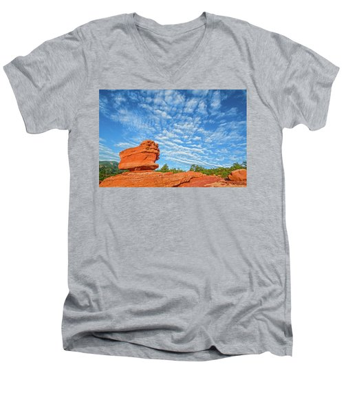 Vermillion Is The Color Of The Rock.  Men's V-Neck T-Shirt by Bijan Pirnia