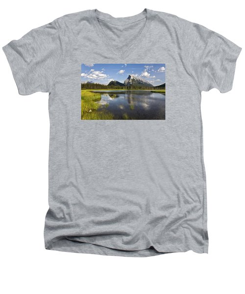 Vermillion Lake And Sulpher Mountain Men's V-Neck T-Shirt