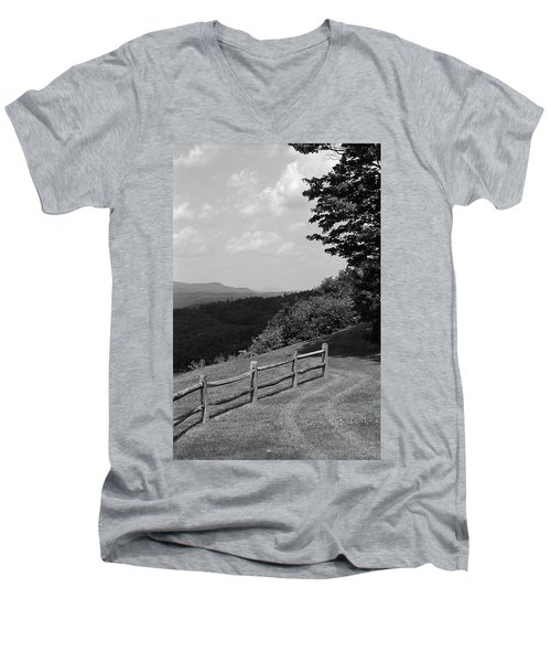 Men's V-Neck T-Shirt featuring the photograph Vermont Countryside 2006 Bw by Frank Romeo