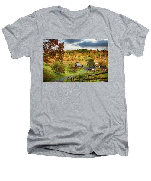 Vermont Sleepy Hollow In Fall Foliage Men's V-Neck T-Shirt