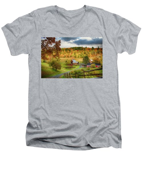 Vermont Sleepy Hollow In Fall Foliage Men's V-Neck T-Shirt