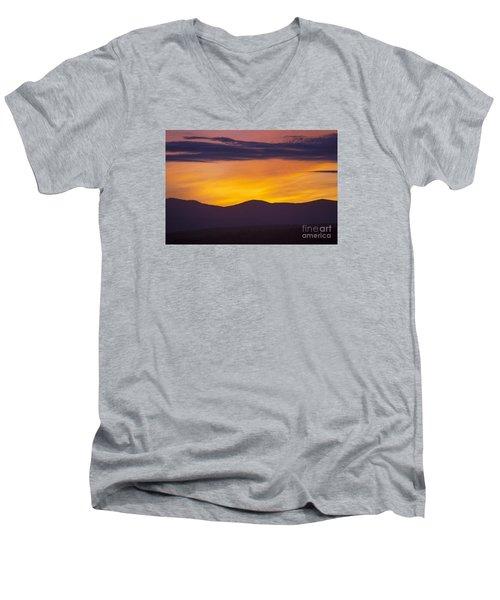 Vermont Sunset Men's V-Neck T-Shirt by Diane Diederich