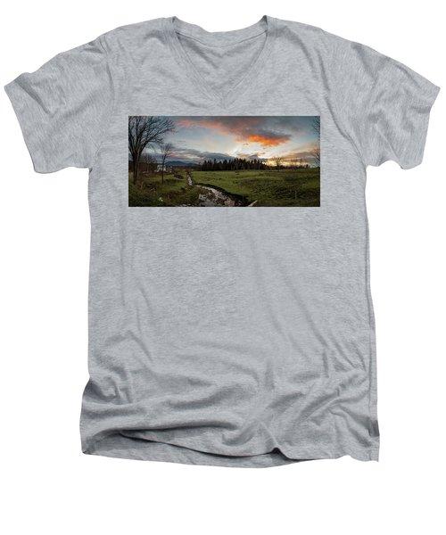 Vermont Sunset Men's V-Neck T-Shirt