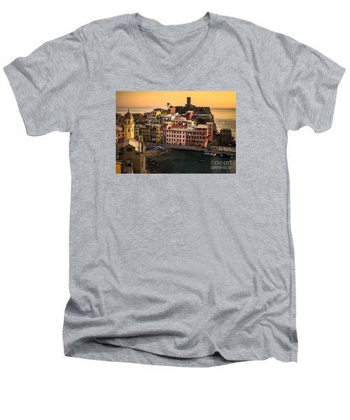 Vernazza At Sunset Men's V-Neck T-Shirt