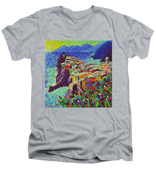 Vernazza Cinque Terre Italy 2 Modern Impressionist Palette Knife Oil Painting By Ana Maria Edulescu  Men's V-Neck T-Shirt