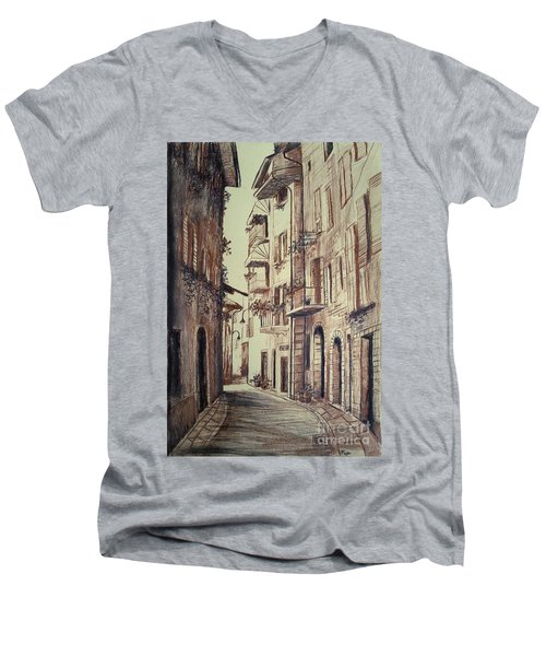 Verona Drawing Of A Narrow Street Men's V-Neck T-Shirt by Maja Sokolowska