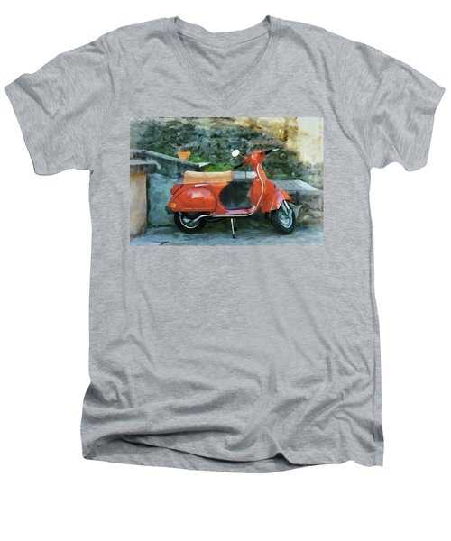 Men's V-Neck T-Shirt featuring the painting Vespa Parked by Jeff Kolker