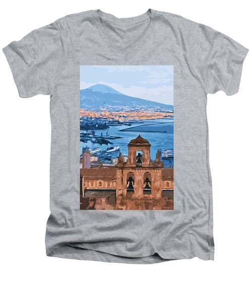 Vesuvio, Panorama From Naples Men's V-Neck T-Shirt