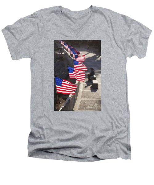 Men's V-Neck T-Shirt featuring the photograph Veteran With United States Flags by John A Rodriguez