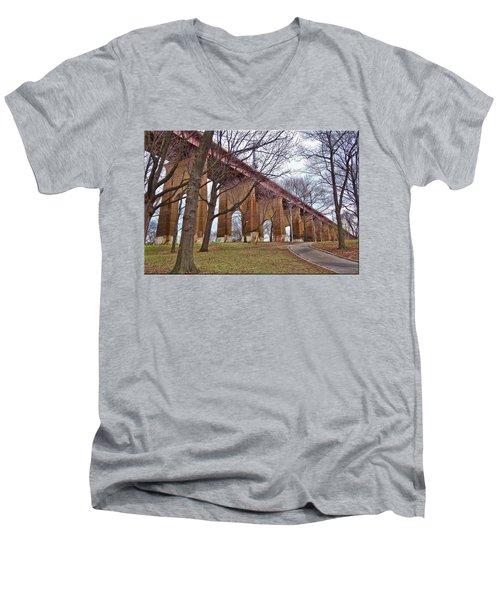 Viaduct Men's V-Neck T-Shirt by Mikki Cucuzzo