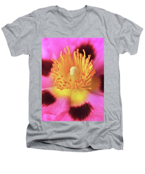 Men's V-Neck T-Shirt featuring the photograph Vibrant Cistus Heart. by Terence Davis