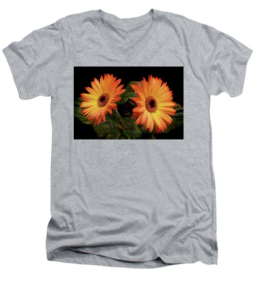 Men's V-Neck T-Shirt featuring the photograph Vibrant Gerbera Daisies by Terence Davis