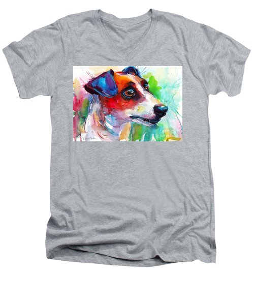 Vibrant Jack Russell Terrier Dog Men's V-Neck T-Shirt