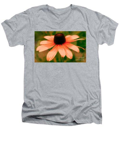 Vibrant Orange Coneflower Men's V-Neck T-Shirt by Judy Palkimas