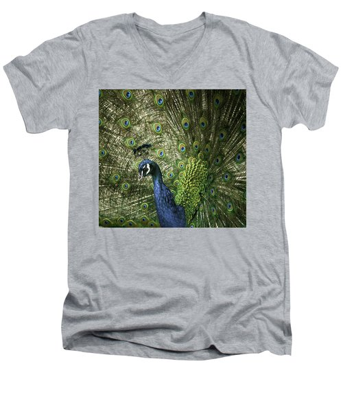 Vibrant Peacock Men's V-Neck T-Shirt by Jason Moynihan