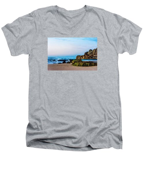 Vibrant Seascape At Twilight Men's V-Neck T-Shirt by Marion McCristall