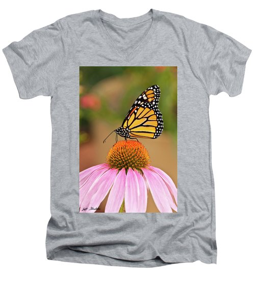 Monarch Butterfly On A Purple Coneflower Men's V-Neck T-Shirt by Jeff Goulden