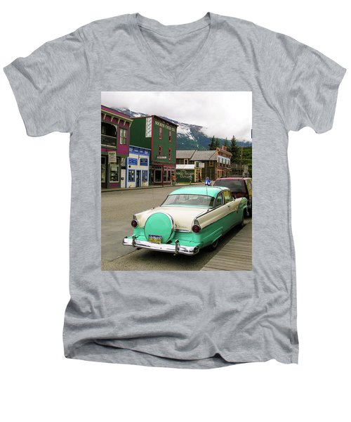 Men's V-Neck T-Shirt featuring the photograph Vicky In Skagway by Jim Mathis