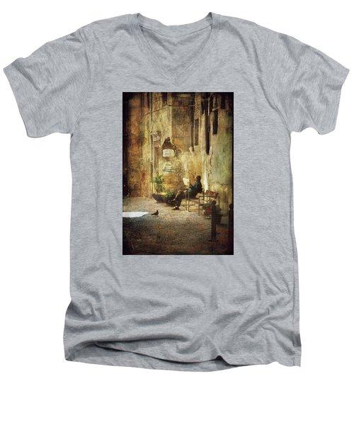 Vicolo Chiuso   Closed Alley Men's V-Neck T-Shirt by Vittorio Chiampan