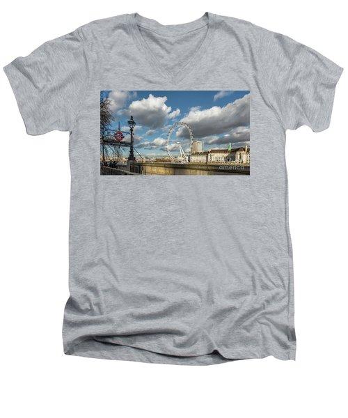 Victoria Embankment Men's V-Neck T-Shirt by Adrian Evans