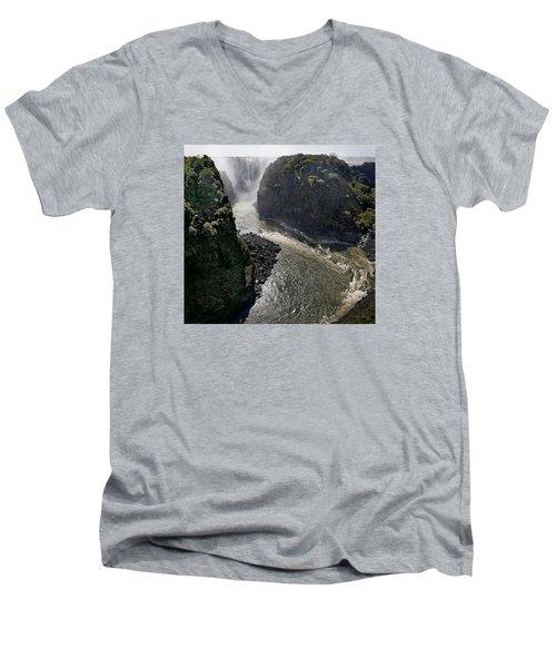 Victoria Falls Men's V-Neck T-Shirt by Joe Bonita