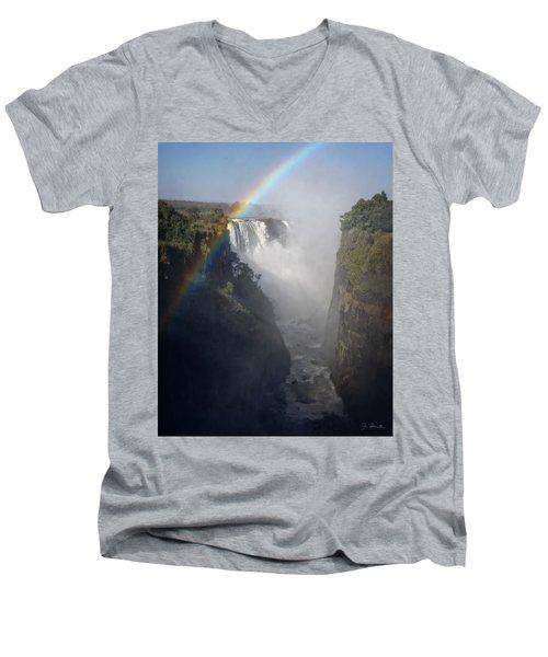 Victoria Falls No. 3 Men's V-Neck T-Shirt by Joe Bonita