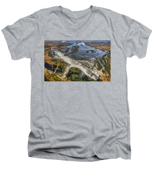 Men's V-Neck T-Shirt featuring the photograph Victoria Falls, The Smoke That Thunders by Myrna Bradshaw