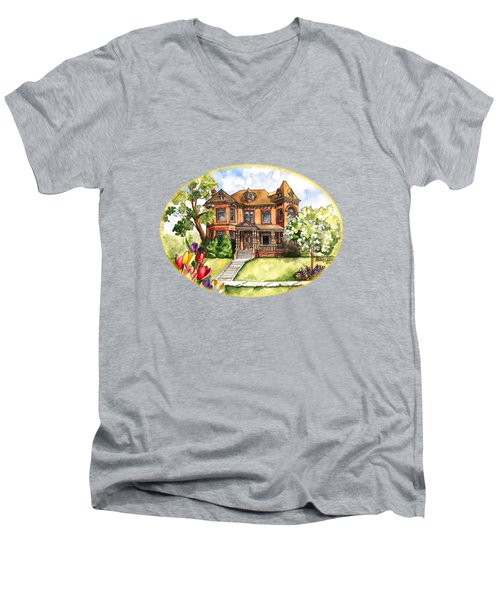 Victorian Mansion In The Spring Men's V-Neck T-Shirt by Shelley Wallace Ylst