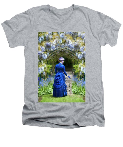 Victorian Woman With Wisteria Men's V-Neck T-Shirt