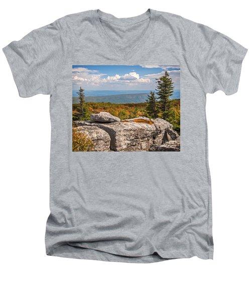 View From Bear Rocks 4173c Men's V-Neck T-Shirt
