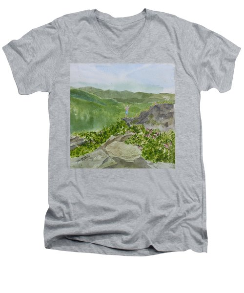 Men's V-Neck T-Shirt featuring the painting View From Craggy Gardens - A Watercolor Sketch  by Joel Deutsch