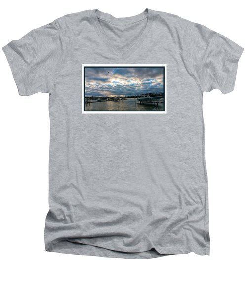 View From Marina Bay Men's V-Neck T-Shirt by Dorothy Cunningham