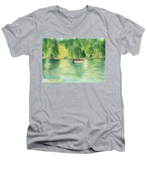 Men's V-Neck T-Shirt featuring the painting View From Millbay Ferry by Vicki  Housel