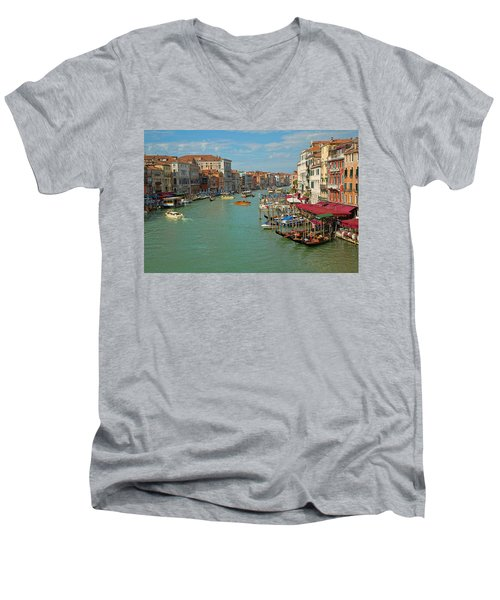 Men's V-Neck T-Shirt featuring the photograph View From Rialto Bridge by Sharon Jones