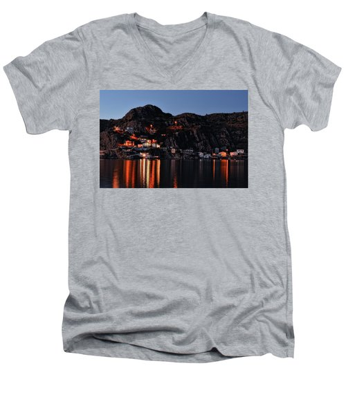 View From The Harbor St Johns Newfoundland Canada At Dusk Men's V-Neck T-Shirt