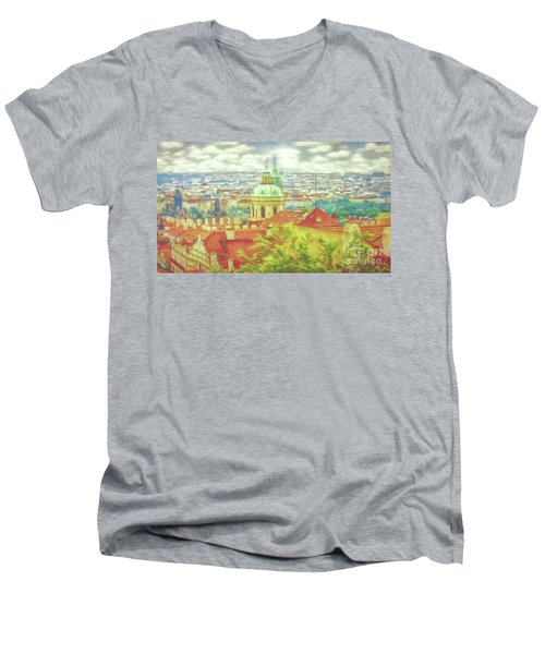 View From The High Ground - Prague  Men's V-Neck T-Shirt