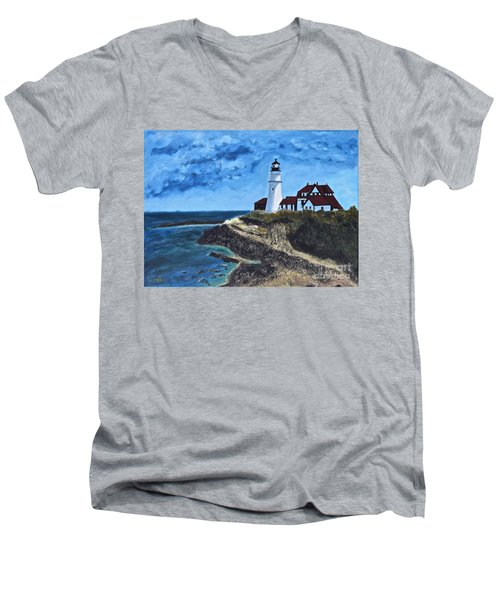View From The North Portland Head Light Men's V-Neck T-Shirt