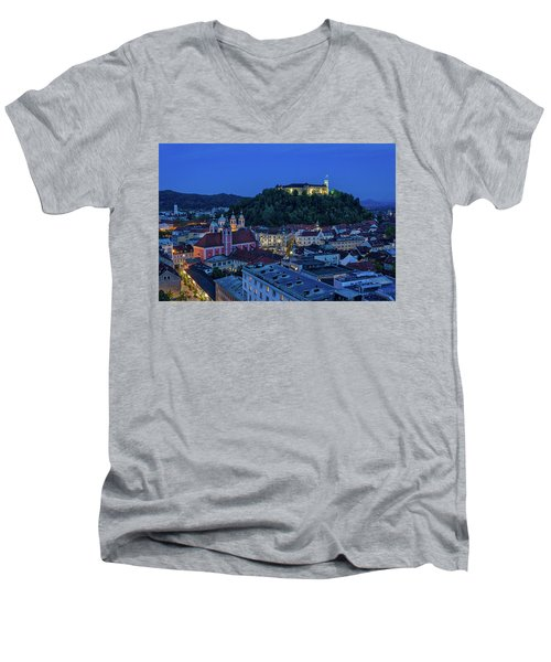 Men's V-Neck T-Shirt featuring the photograph View From The Skyscraper #2 - Slovenia by Stuart Litoff