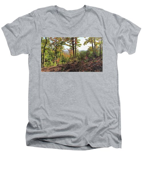 View From The Top Of Brown's Mountain Trail, Kings Mountain Stat Men's V-Neck T-Shirt